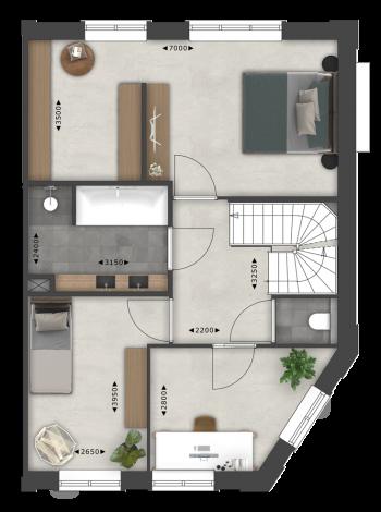 Pakhuis hoekwoning split 1e verdieping