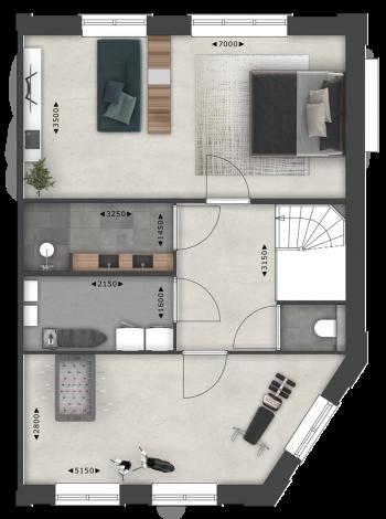 Pakhuis hoekwoning split 2e verdieping